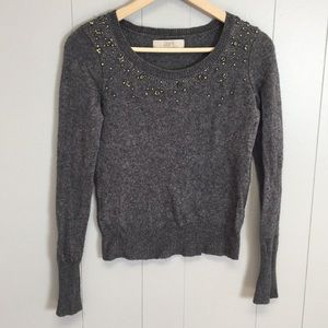 Loft Embellished Beaded Crew neck sweater Small